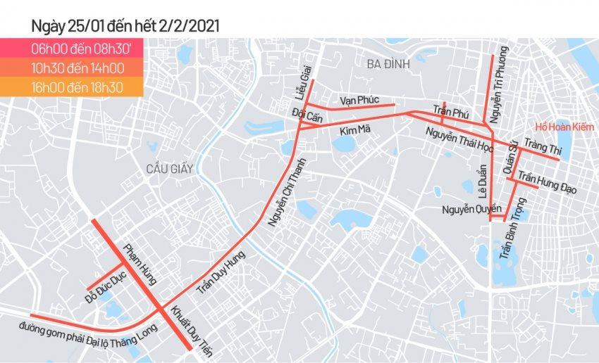 Lịch cấm đường phục vụ Đại hội Đảng lần thứ XIII